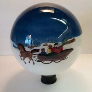 "9.5"" tall Sleigh Ride painted glass globe"
